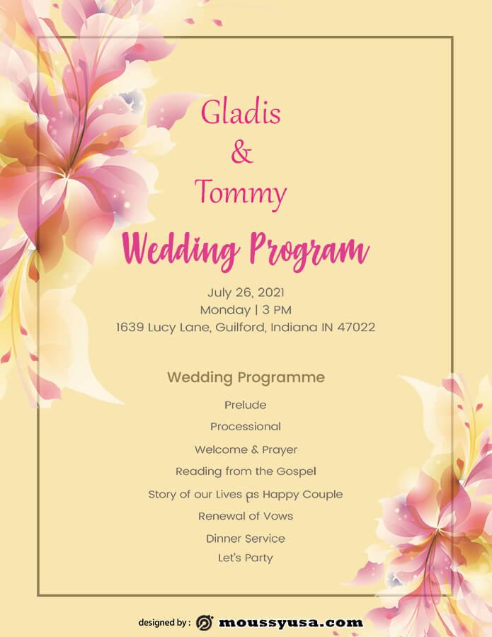 wedding program psd template free