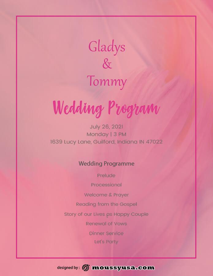 wedding program template free psd
