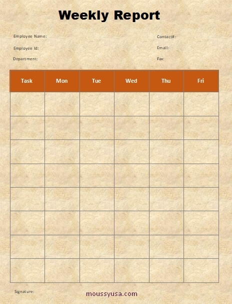 weekly report template example word design