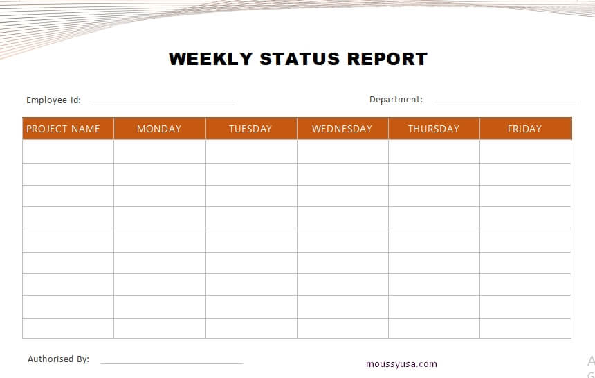 weekly report template free download word