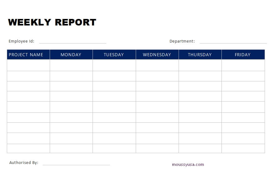 weekly report template in word design