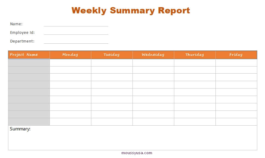 weekly report template in word free download