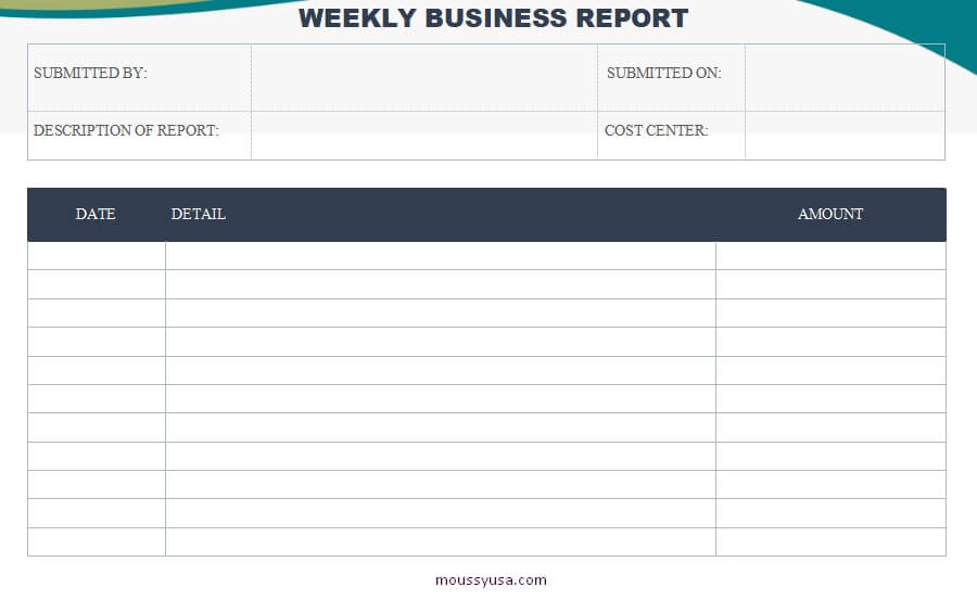 weekly report template template free word