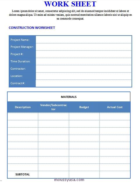work sheet customizable word design template