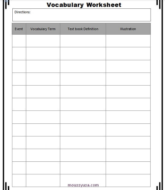 work sheet example word design