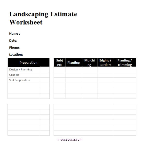 work sheet free word template