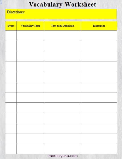 work sheet in word