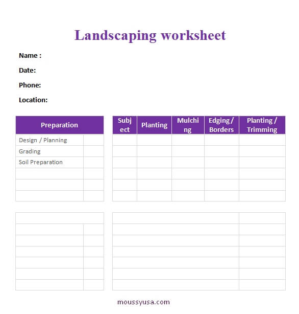 work sheet template for word