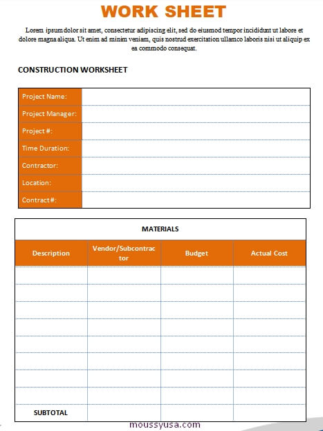 work sheet template free word