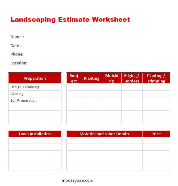 work sheet word template free